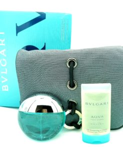 Bvlgari Aqva Marine pour Homme Weekend Set 50ml Eau de Toilette + 75ml Shampoo & Shower Gel + Pouch